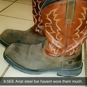 Ariat Steel toe work boots.